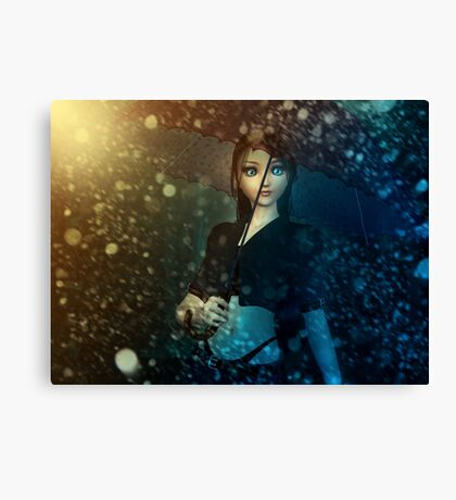 Girl in snowstorm Canvas Print