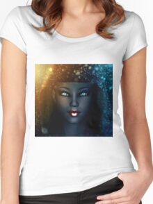 Girl in snowstorm 2 Women's Fitted Scoop T-Shirt