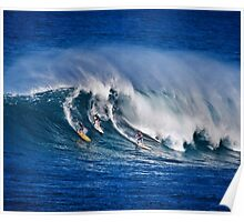 Three Surfers At Waimea Bay Poster