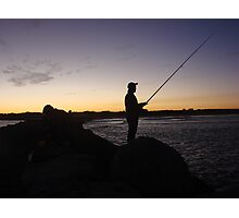 Me-Fishing Silhouette Photographic Print
