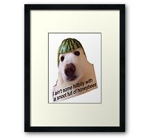 Watermelon Hat Dog Framed Print