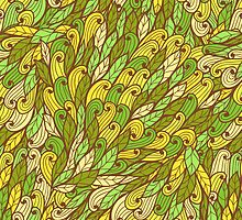 Green and yellow hand drawn doodle pattern by Patternalized