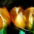 Neon Orange Rose Buds by Lesley Smitheringale