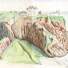 Castle on cilffs by Celinda
