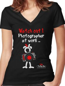 Red - The New Guy - Watch out ! Photographer at work .. Women's Fitted V-Neck T-Shirt