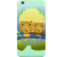 Spring flower power Owls on a branch iPhone Case/Skin