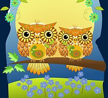 Cute Spring Owls Birthday text card by walstraasart
