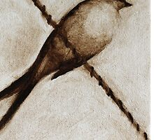 bird on a wire painting in browns by clairewhitehead