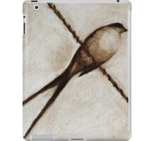 bird on a wire painting in browns iPad Case/Skin