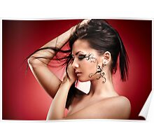 Face painted woman in closeup Poster