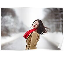 Beautiful brunette with hair blown by wind in the winter Poster