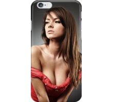 Beautiful woman with deep cleavage on gray background iPhone Case/Skin