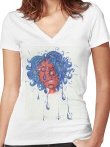 Red Face Girl Crying Women's Fitted V-Neck T-Shirt