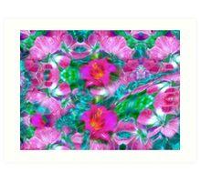 floralscape teal aqua water Art Print