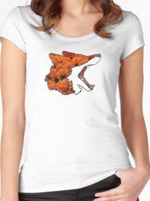 Flower Fox Design Women's Fitted Scoop T-Shirt