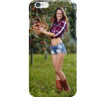 Beautiful woman picking apples iPhone Case/Skin