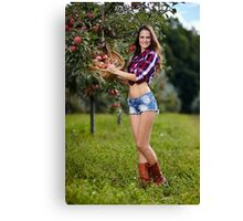 Beautiful woman picking apples Canvas Print