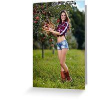 Beautiful woman picking apples Greeting Card