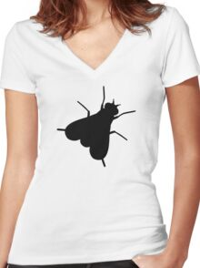 Fly Insect Women's Fitted V-Neck T-Shirt