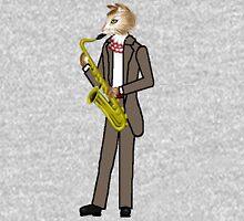 Male Cat playing Saxophone Mens V-Neck T-Shirt