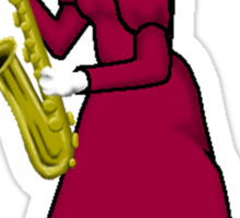 Female Cat playing Saxophone Sticker
