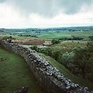 Looking west at Harrows Scar Hadrian's wall Milecastle England 198405260054  by Fred Mitchell