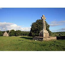 Dysart O Dea Celtic Cross and church Photographic Print