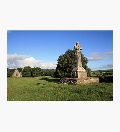 Dysart O Dea Celtic Cross and church Photographic Print