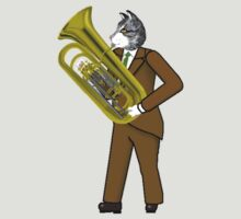 Male Cat playing Tuba by Celinda