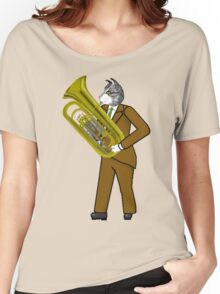 Male Cat playing Tuba Women's Relaxed Fit T-Shirt