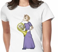 Female Cat playing French Horn Womens Fitted T-Shirt