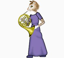 Female Cat playing French Horn T-Shirt