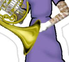 Female Cat playing French Horn Sticker