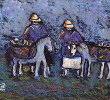 Fisherfolk with donkeys by sword