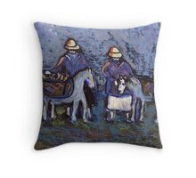 Fisherfolk with donkeys Throw Pillow