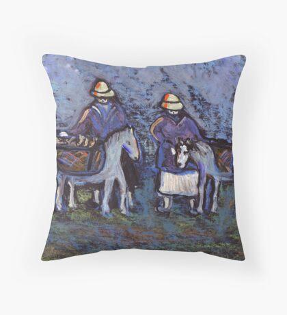 Fisherfolk with donkeys Throw Pillow