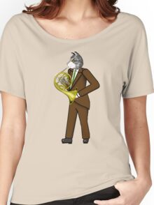 Male Cat playing French Horn Women's Relaxed Fit T-Shirt