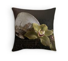 Still life with Chawan and Orchids Throw Pillow