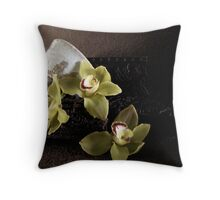 Still life with Japanese Chawan and orchids Throw Pillow