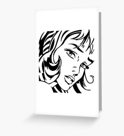 Girl With Hair Ribbon - Roy Lichtenstein Stencil Greeting Card