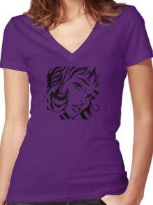 Girl With Hair Ribbon - Roy Lichtenstein Stencil Women's Fitted V-Neck T-Shirt