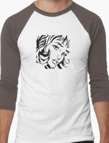 Girl With Hair Ribbon - Roy Lichtenstein Stencil Men's Baseball ¾ T-Shirt