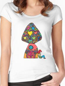 Gnome by a Mushroom Women's Fitted Scoop T-Shirt