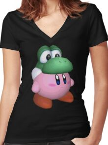 eggzalent kirby dezign :] Women's Fitted V-Neck T-Shirt
