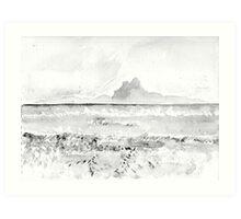 French Polynesia - Bora Bora vue de Motu Tau Tau - B/W Art Print