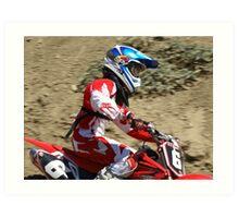 "Motocross Rider - Determined ""Red Honda Rider"" Working hard towards Loretta Lynns ""SPONSOR ME"" Photo"" Art Print"
