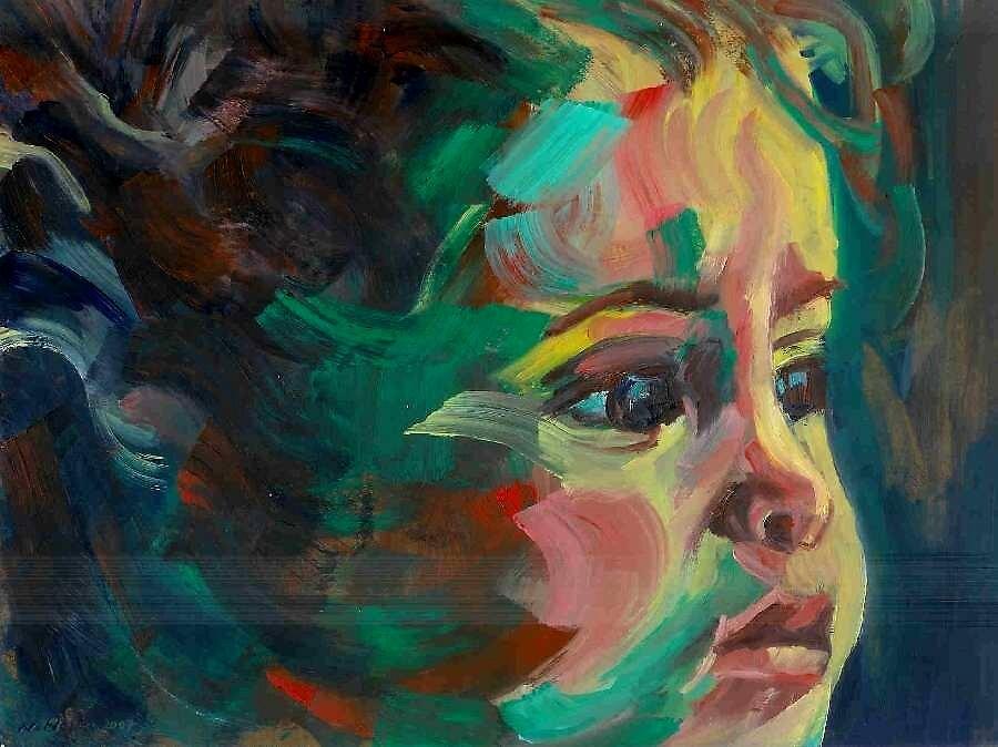 Portrait, oil on paper by Nurhilal Harsa