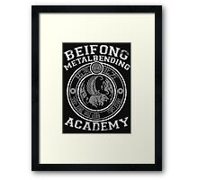 Beifong Metalbending Academy - White & Silver Framed Print