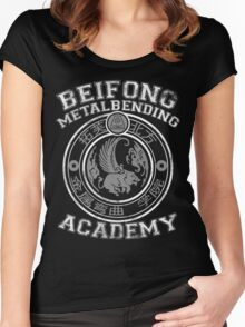 Beifong Metalbending Academy - White & Silver Women's Fitted Scoop T-Shirt