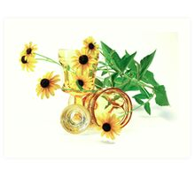 Still life flowers and glass Art Print